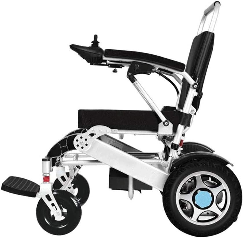 HHJY-Premium Portátil Silla de Ruedas Eléctrica Aluminio Aeroespacial Diseño Artesanal Silla de Ruedas Plegable de Doble Motor Súper Ligero Y Plegable