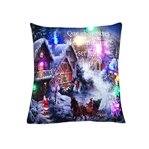 Happy Christmas Pillowslip, Challyhope Snow Man Lighting LED Cushion Case Sofa Home Decor Throw Pillow Cover Flashing (45cmX45cm, Multicolor E)]()