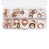 Festnight 100pcs Copper Washer Gasket Nut and Bolt Set Flat Ring Seal Assortment Kit with Box M5-M14 Electrical Woodworking Washers Sets