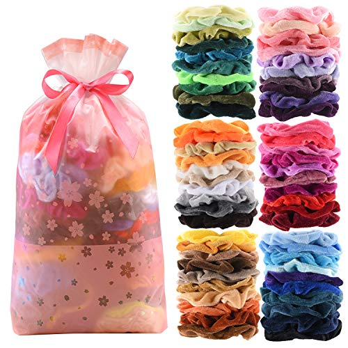 Halloween Hair Bow Ideas (60 Pcs Premium Velvet Hair Scrunchies Hair Bands for Women or Girls Hair Accessories,Great Gift for halloween Thanksgiving day and)