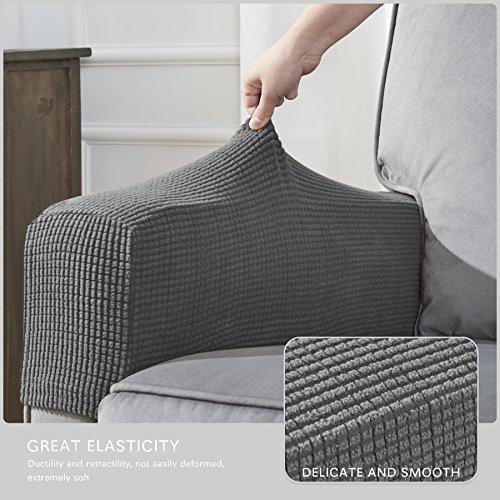 CHUN YI Set of 2 Stretch Polyester Spandex Fabric Jacquard Armrest Cover (Light Gray) by CHUN YI (Image #4)