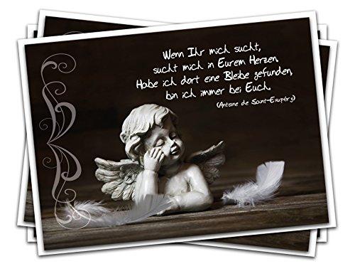 48 Stück Trauerkarte Kondolenzkarte Beileids-Karte ENGEL mit Spruch ...
