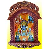 Lord Vishnu with Shiva & Krishna Poster in Wood Craft Jharokha