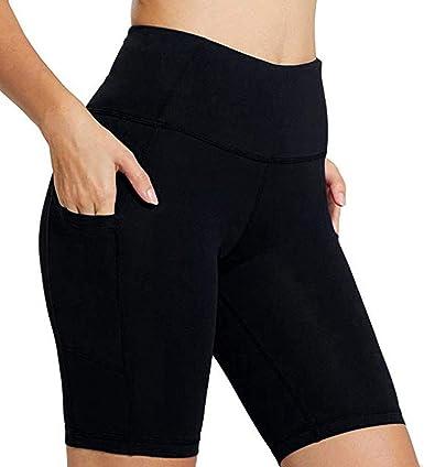 Womens Shorts Elastic Waist Hessimy Womens High Waist Workout Yoga Running Compression Shorts Tummy Control Side Pockets