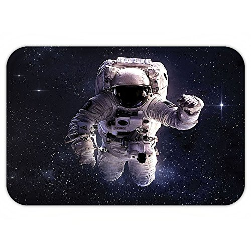 VROSELV Custom Door MatGalaxy Astronaut in Outer Space Stardust Nebula in Milky Way Cosmonaut Apollo Art Decor White Dark Blue - Apollo Astronaut Costume