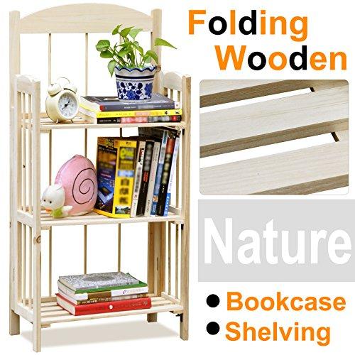 Go2buy 3 Shelf Natural Pine Wood Folding Bookshelf No Assembly Required Bookcase Storage Shelves Units