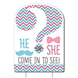 Big Dot of Happiness Chevron Gender Reveal - Party Decorations - Gender Reveal Party Welcome Yard Sign