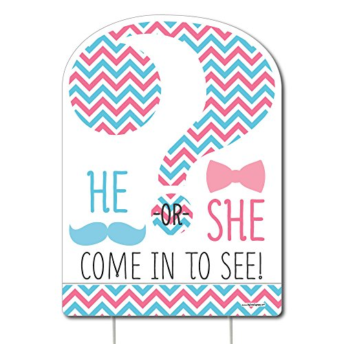 Big Dot of Happiness Chevron Gender Reveal - Party Decorations - Gender Reveal Party Welcome Yard Sign -