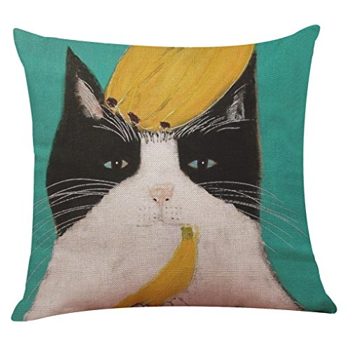 Throw Pillow Covers,FUNIC Cute Cat Festival Cushion Covers Pillowcase Bed Room (Due Date Halloween)