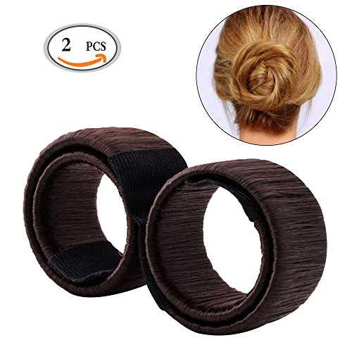 [OR Pure 2pcs Fashion Hair Styling Hair Donut Former Foam French Twist Magic DIY Tool Bun Maker Clip Curler Roller Tool Hair For Girl Ladies (Two Brown)] (Brown Twist)