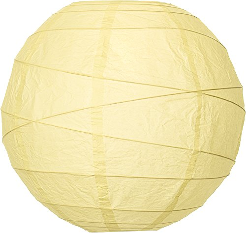 Luna Bazaar Premium Paper Lantern Lamp Shade (10-Inch, Free-Style Ribbed, Lemonade Yellow) - Chinese/Japanese Hanging Decoration - For Parties, Weddings, and Homes