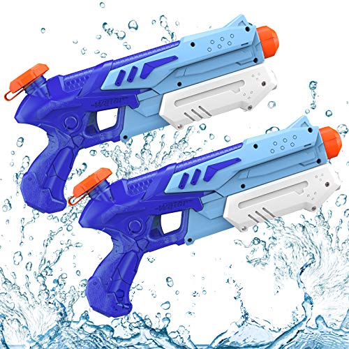 Water Gun Toys for Kids, Kiztoys Powerful Water Pistol for Kids with 600ML Capacity 10 Meters Long Range Squirt Gun,  Water Sprinklers for Water Sport Fighting Outdoor Garden Beach Kid Adults (2 Pcs)