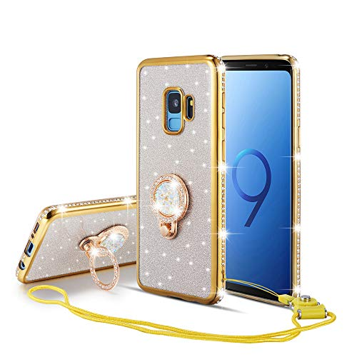 UEEBAI Case for Galaxy S9 Plus, Bling Glitter Case Inlaid Diamond 360 Degree Rotatable Colorful Rhinestones Ring Holder Kickstand Ultra Slim Soft TPU Back Cover for Samsung Galaxy S9 Plus - Gold