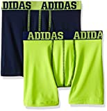 adidas Boys Sport Performance Climalite Boxer Brief Underwear (2 Pack), Semi Solar Slime/Collegiate Navy, X-Large