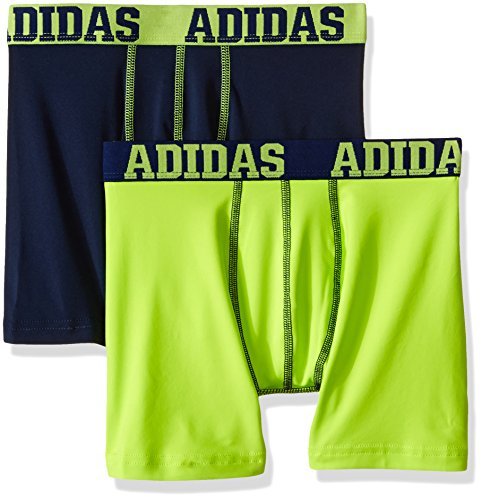 adidas Boys Sport Performance Climalite Boxer Brief Underwear (2 Pack), Semi Solar Slime/Collegiate Navy, Medium