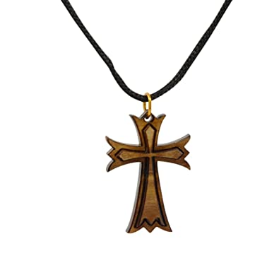 Budded Cross Necklace from Bethlehem in Olive Wood with Certificate of Authenticity FJOK0Y4F