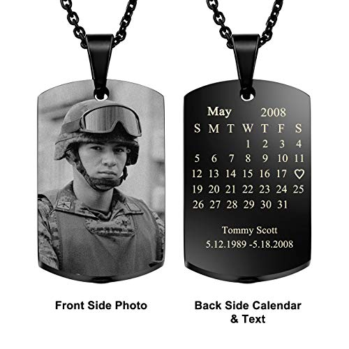(Jovivi Personalized Custom Photo Picture/Text/Special Date Calendar Necklace Free Engraving Stainless Steel Dog Tag Urn Necklaces for Ashes Cremation Keepsakes Jewelry)