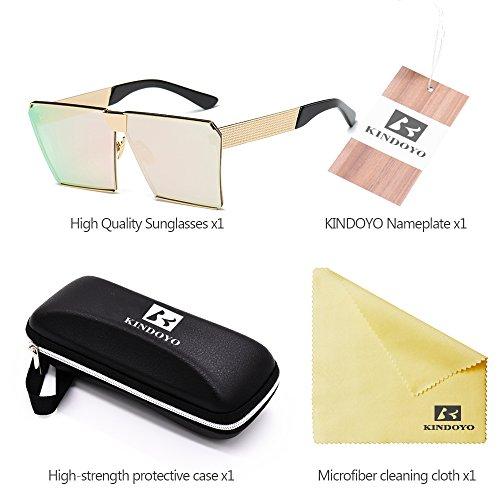 gafas Rosa de Comba sol Protección Polarizado UV 400 A de KINDOYO Oro Moda Sobredimensionado Unisex Gafas Metal Steampunk zgqOwqa