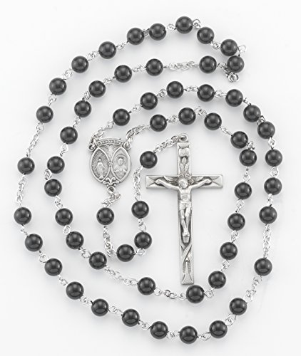 (6 7/18) BERTOF BT-PR-105 Pewter Rosary Onyx Beads Beads WITH 100% Pewter Center and Crucifix Hand Made USA Copyrighted Paul Herbert Blessing PEWTARA Series