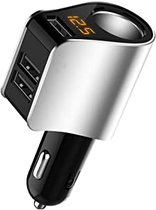 Car Charger Extension Cigarette Lighter Adapter,Socket Splitter with 3 USB and Voltage Meter,Compatible for iPhone 8/7/X/6S/XR,iPad,Samsung Galaxy S9/S8,iPad,GPS,Android Phone (Silver)
