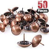 Hilitchi 50-Pieces 30mm Antique Red Copper Tacks Bronze Nail Pins Upholstery Tacks Furniture Thumb Tack Pins Assortment Kit