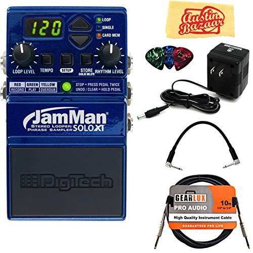 DigiTech JamMan Solo XT Looper Pedal Bundle with Power Supply, Instrument Cable, Patch Cable, Picks, and Austin Bazaar Polishing Cloth