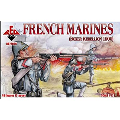 PLASTIC MODEL FIGURES French Marines 1900 48 FIGURES IN 12 POSES 1/72 RED BOX 72026: Toys & Games