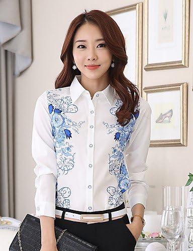 Mujer Camisa Blusa elegante mujer Blusa Camisa de mujer – – Camiseta de mujer flor gasa Camisa de manga larga cuello, color Blanco - blanco, tamaño L: Amazon.es: Deportes y aire libre