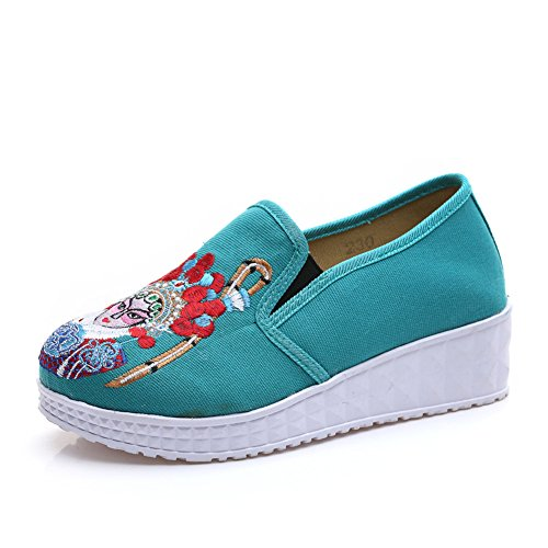 Chinese Embroidery Shoes Chinese style embroidered Canvas Shoes dancing shoes loafers green