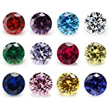 12pcs Size 4mm~10mm Birthday Stone 1pcs per Colors Round Cubic Zirconia Synthetic Ruby 5# Synthetic Spinel 113# (5mm)
