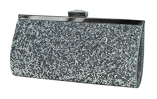 Women's De Blossom Collection Glitter and Jewel Snap Closure Evening Bag with Detachable Chain Pewter (Pewter Glitter)