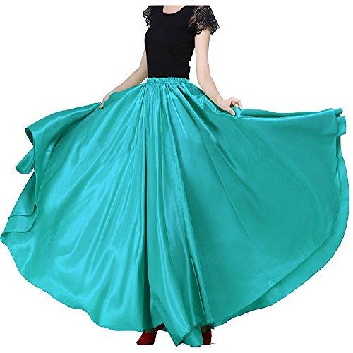- Backgarden Women's 20 Yard Floor Length Circle Satin Dance Skirt Party Performance Maxi, XS~2XL, Green