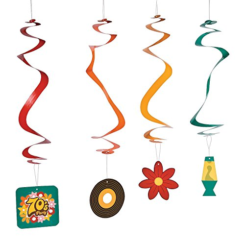 Fun Express - 70's Party Hanging Swirls for Party - Party Decor - Hanging Decor - Spirals & Swirls - Party - 12 Pieces ()