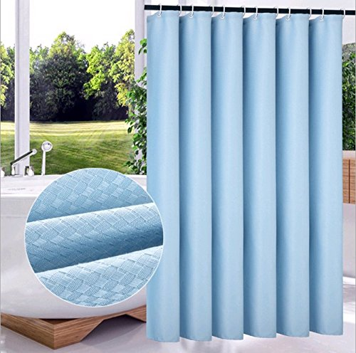 Uforme Hotel Decor Argyle Pattern Shower Curtain Jacquared Heavy Duty Polyester Bathroom Liner Waterproof and Mildew Resistant with Hooks, Sky Blue, 72 Inch By 78 Inch
