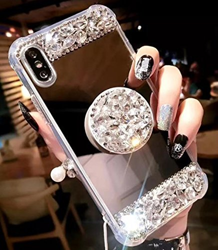 Price comparison product image iPhone X Crystal TPU Mirror Case, Lozeguyc Handmade Bling Diamond Cover iPhone X 5.8 Inch Fashion Beauty Case Rhinestone Collapsible Ring Stand Shockproof Sleek Case for Girl Women-Gold