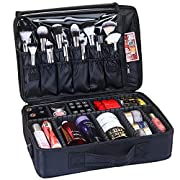 GreenLife® Large 16″ Professional makeup Train Case Cosmetic Toiletry bag Travel Make up artist master Organizer Waterproof Portable Storage with Adjustable Dividers Accessories Brushes Pouch Black