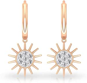 Sunburst Drop Huggie Earring, SGL Certified Diamond Small Hoop Earring, Bridesmaid Wedding Earring, HI-SI Color Clarity Diamond Stacking Earring, clip-on