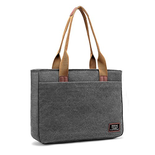 Canvas Tabs - Laptop Tote Bag, DTBG 15.6 Inch Women Shoulder Bag Canvas Briefcase Casual Handbag Laptop Case For 15-15.6 Inch Tablet/Ultra-book/Macbook / Chromebook(Dark Grey)