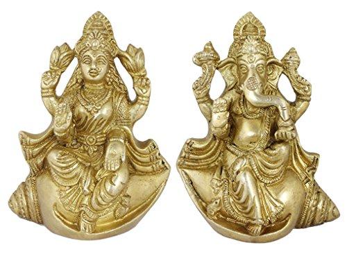 "Figurine Wedding God Ganesha and Goddess Lakshmi Sculpture Set On Conch Shell Brass Statue - 5.5"" x 4.5"" x 3"""