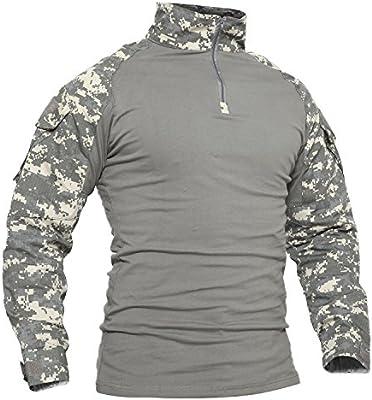 TACVASEN Hombres Ejército Camisa Largo Militar Táctico Combate Camuflaje Camo Camisetas: Amazon.es: Deportes y aire libre