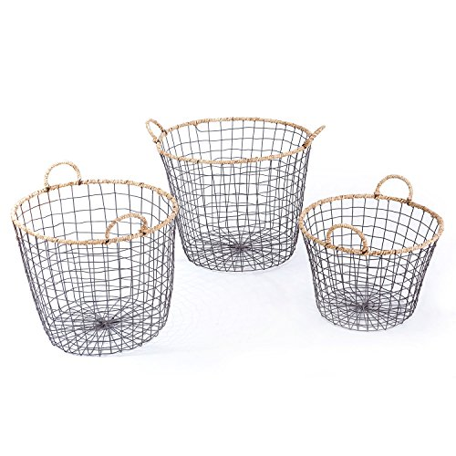 Multi-Purpose Iron wired Laundry Baskets with Handles and Rope Lining Home Decor, Set of 3