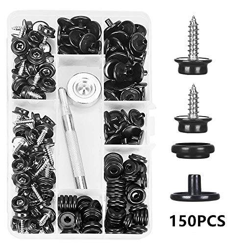 Kelife 150 PCS Canvas Snap Kit Tool,Metal Screws Snaps Marine Grade 3/8