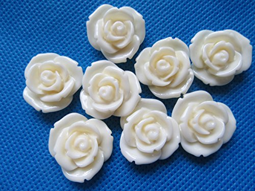 Ivory Resin Rose - YYCRAFT Pack Of 50pcs Resin Rose 7/8