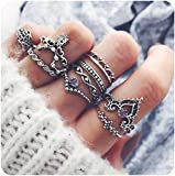 Zealmer Midi Ring Set Crown Hand of Fatima Hamsa Knuckle Ring Set Vintage Silver Statement Stack Rings