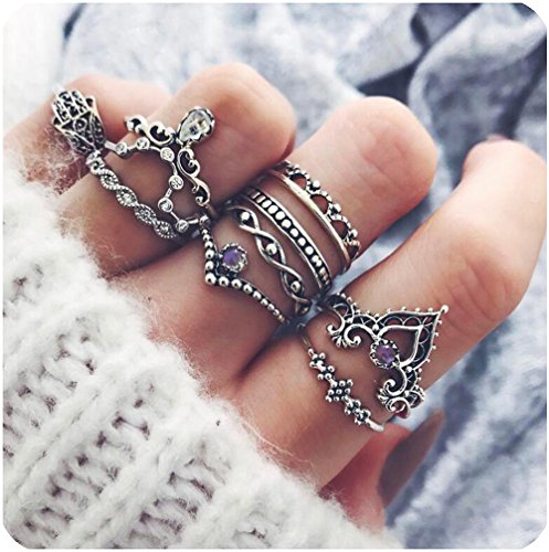 Zealmer Midi Ring Set Crown Hand of Fatima Hamsa Knuckle Ring Set Vintage Silver Statement Stack Rings (Leaf Ring)
