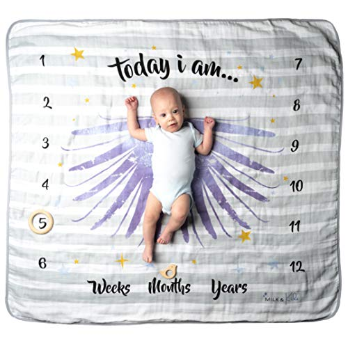 Organic Baby Milestone Blanket | Includes 2 Baby Photography Props | 4 Layer 100% Cotton Muslin Baby Blanket | Extra Soft & Thick | Extra Large Size 47