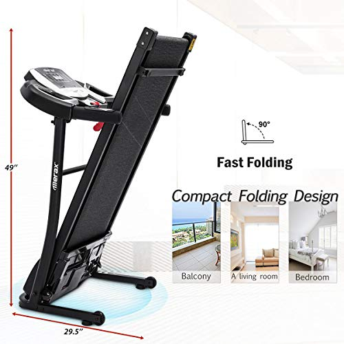 Merax Electric Folding Treadmill – Easy Assembly Fitness Motorized Running Jogging Machine with Speakers for Home Use, 12 Preset Programs (Black) by Merax (Image #5)