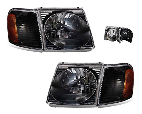 Side Drivers Corner Explorer Ford - SPPC Sport Trac Crystal Headlights Assembly Set with Corner Black For Ford Explorer - (Pair) Driver Left and Passenger Right Side Replacement Headlamp