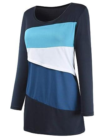 a86ca202d01 Amazon.com  ZXZY Women Round Neck Colorblock Tunic Maternity Comfy Layered  Nursing Top Shirt  Clothing