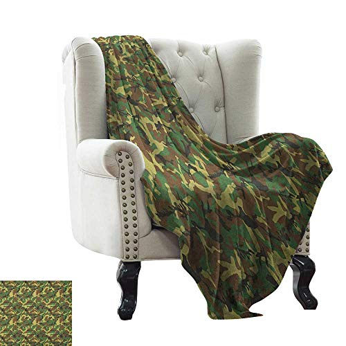 Camouflage Receiving Woodland Blanket - BelleAckerman Baby Blanket Yarn Camo,Woodland Camouflage Pattern Abstract Concealment Hiding in Jungle, Dark Green Pale Green Brown Lightweight Microfiber,All Season for Couch or Bed 50